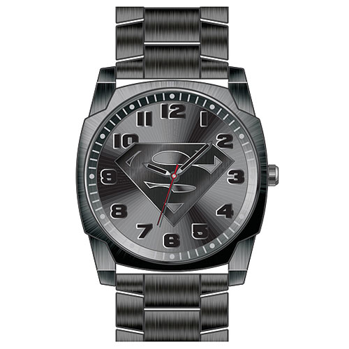 Superman Gray Logo Watch with Gun Metal Bracelet Band